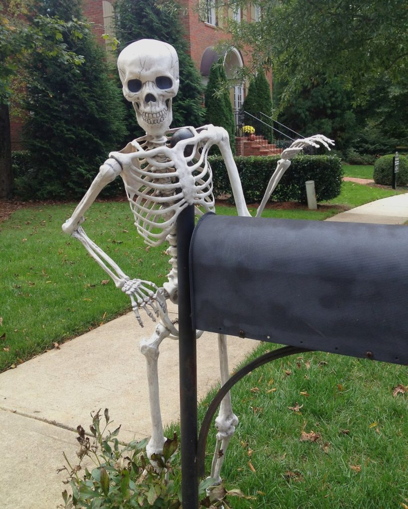 Image result for skeleton waiting by mailbox